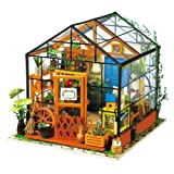 Robotime Wooden DIY Green House - Dolls Houses Model Kits Furniture Renovation - Woodcraft Construction Kit - Educational Toys, Mini Diorama Handmade Miniature House with Lights and Accessories-Flower House for Boys and Girls to Play - Creative Birthday Christmas Gift