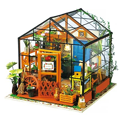 Amazon.com: ROBOTIME DIY Dollhouse Wooden Miniature Furniture Kit Mini  Green House With LED Best Birthday Gifts For Women And Girls: Toys U0026 Games