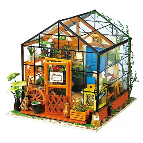 ROBOTIME DIY Dollhouse Wooden Miniature Furniture Kit Mini Green House With  LED Best Birthday Gifts For