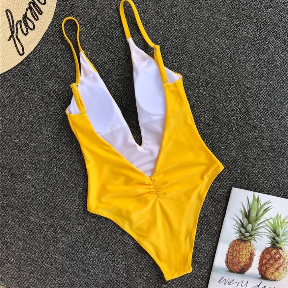 SHOBDW Mujeres Verano Moda Cintura Baja Mono Push-Up Acolchado Bra Beach Bikini Sexy One Piece Slim Traje de Baño: Amazon.es: Ropa y accesorios