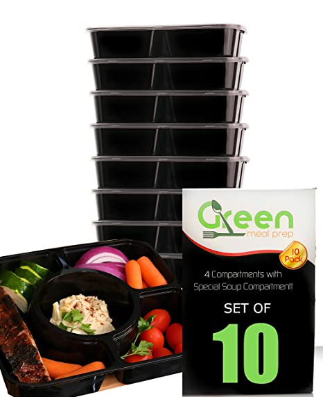 Amazoncom Meal Prep Containers 10 Pack Black 4 Compartments