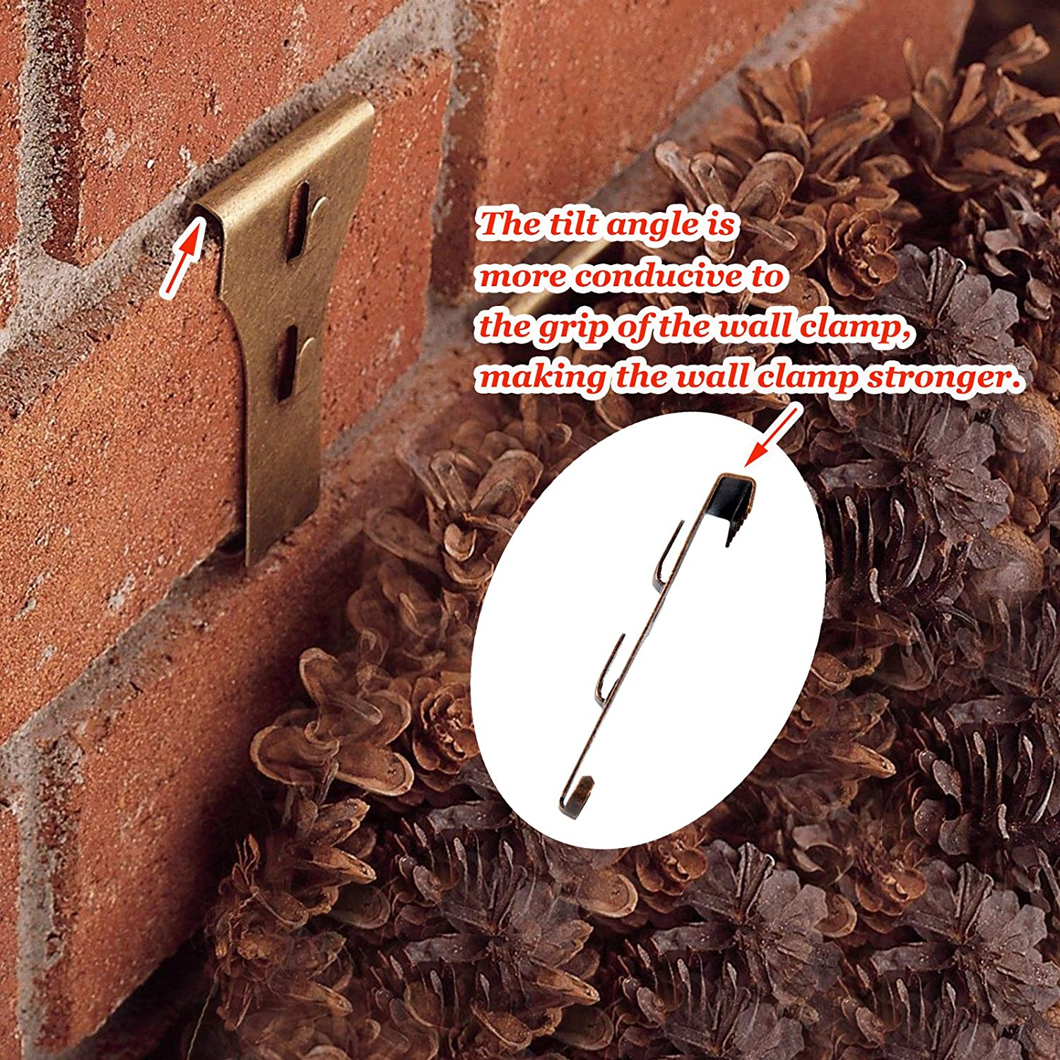 EONHUA Brick Clips for Hanging Brick Wall Clips for Hanging,Steel Hooks Brick Lights Wreaths Pictures Hanger Fits Brick 2 1//4 to 2 3//8 in Height 6PCS