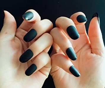Amazon.com : YUNAI Almond Fake Nails Matte Black French Nails Meduim/Long Acrylic False Nails Smooth Gel Head : Beauty