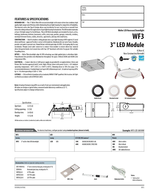 3000K White Lithonia Lighting WF6 LED 30K MW M6 13W Ultra Thin 6 Dimmable Retrofit LED Recessed Ceiling Light