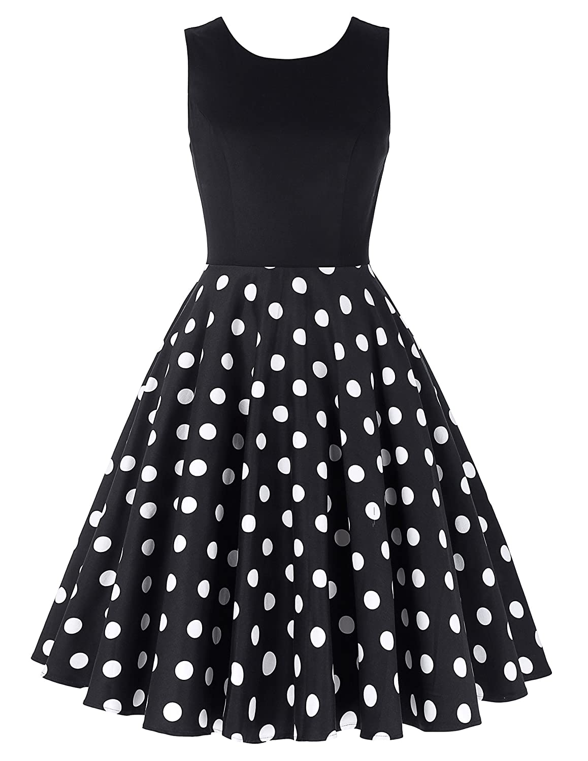 Rockabilly Dresses | Rockabilly Clothing | Viva Las Vegas GRACE KARIN Boatneck Sleeveless Vintage Tea Dress Belt $30.99 AT vintagedancer.com