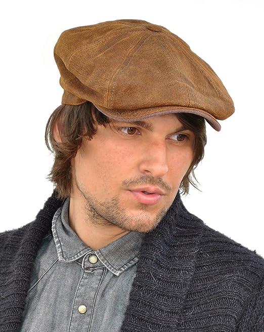 6c1d303af78ef Stetson Leather Burney Bakerboy Newsboy Cap (6897101)  Amazon.co.uk   Clothing