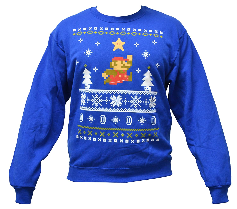 Buddys USA Men\'s Nintendo Super Mario Holiday Pullover Sweatshirt (M ...