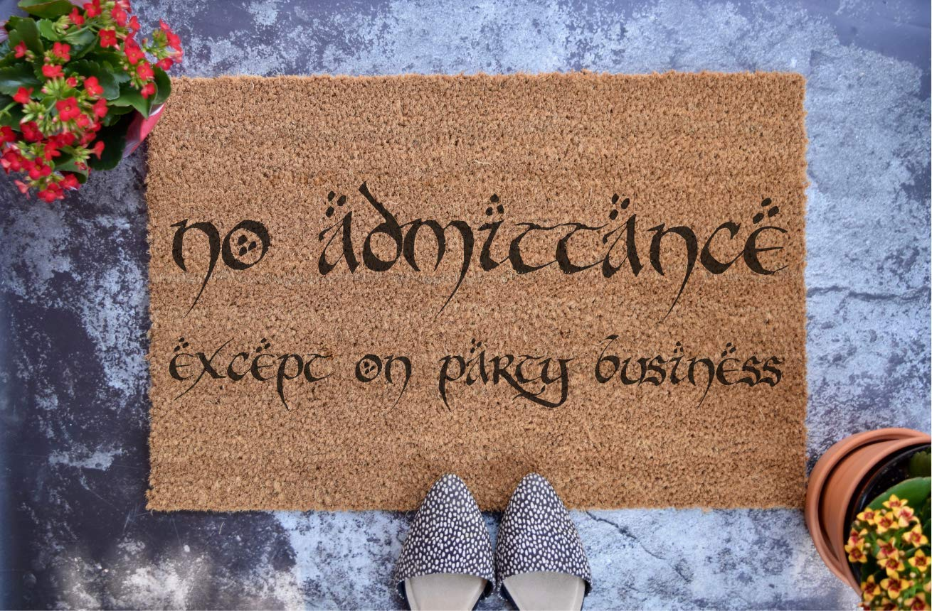 No Admittance Except on Party Business - Lord of the Rings - The Hobbit - LOTR - Personalized Doormat - Wedding Gift - Housewarming Gift