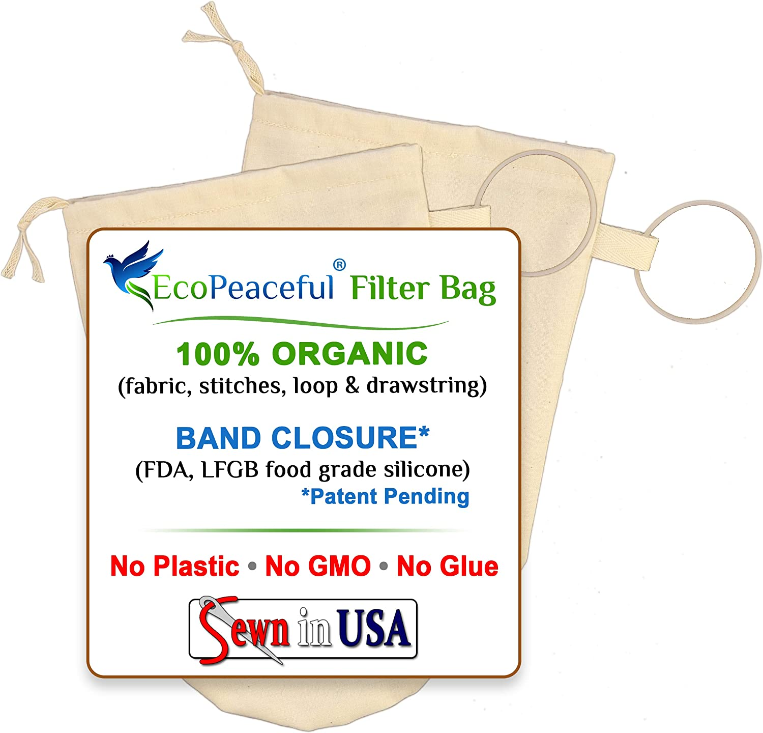 """EcoPeaceful 2 Pack - 6""""x10"""" Organic Cotton Cold Brew Coffee Bags - Nut Milk, Celery Juice Extra Fine Filter Strainer w/Drawstring & Silicone Band Closure. Reusable, Unbleached, BPA-free, Safe to Boil"""
