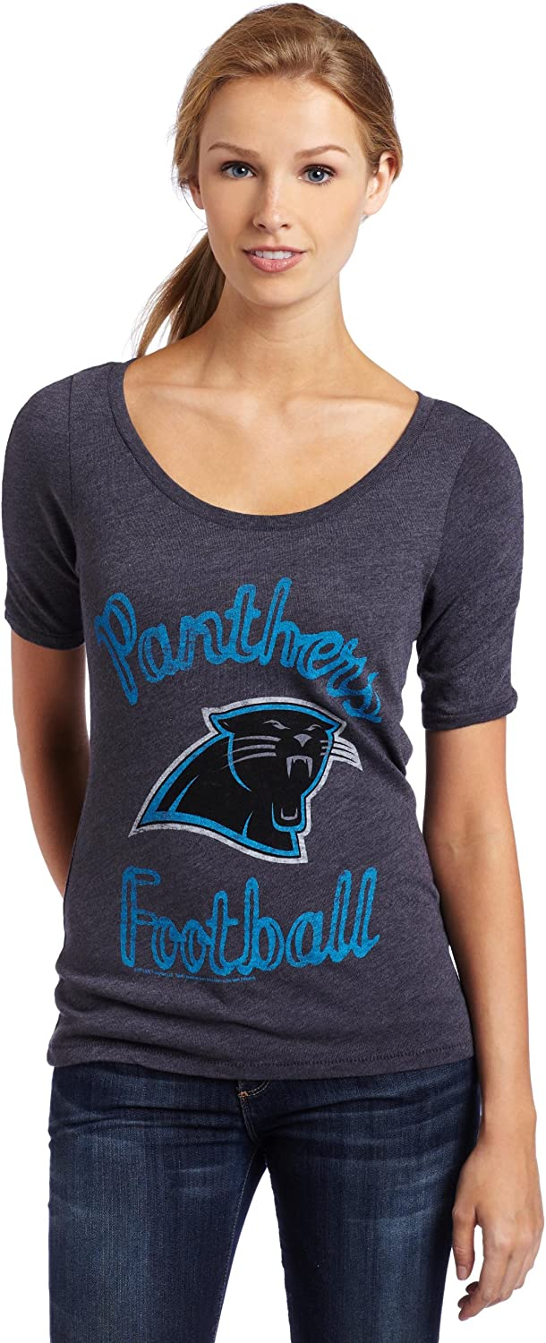 NFL Carolina Panthers Heather Vintage Thermal Sleeve Athletic Tee Women's