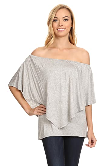 8f884db5ef4121 Womens Knit Tunic Top Off the Shoulder Round Neck Blouse Tunics - Made in  USA