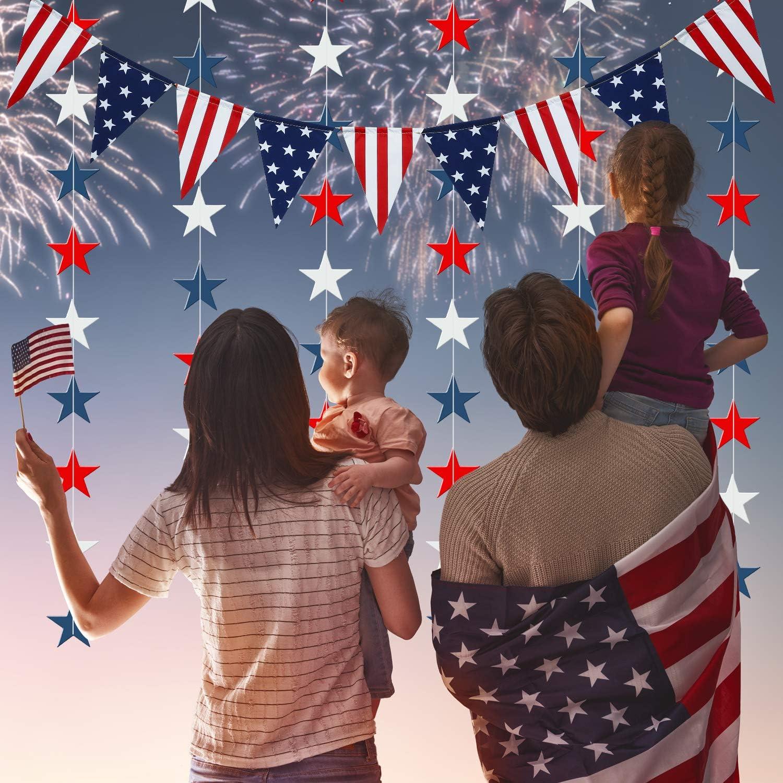 Enth/ält 8 Patriotische Rot Wei/ß Blau Stern Luftschlangen 10 Packungen Patriotisches Banner Girlanden Dekoration Set 2 USA Dreieck Flagge Wimpel f/ür Vierter Juli Amerika Unabh/ängigkeitstag Party