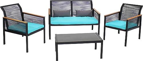 Sunnydaze Coachford 4-Piece Outdoor Patio Conversation Furniture Set