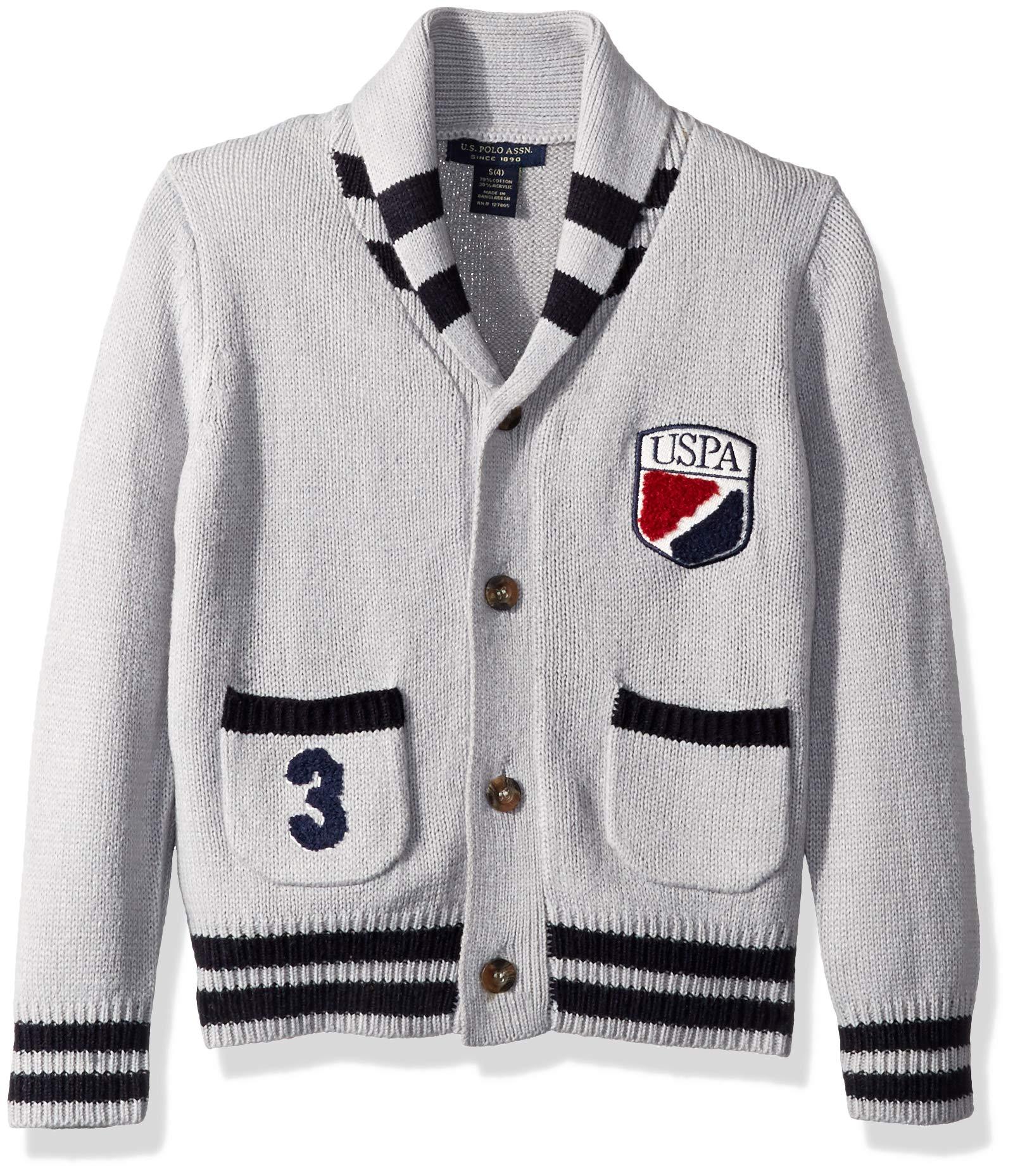 U.S. Polo Assn. Boys' Little Cardigan Sweater, Cool School Light Heather Gray, 5/6