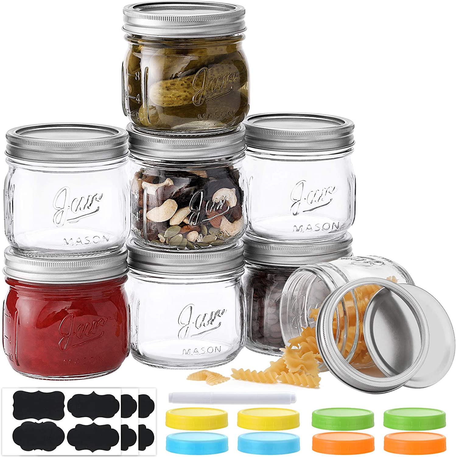 Wide Mouth Mason Jars 12 oz, 8 PACK Glass Canning Jars with Metal Airtight Lids, Leak-Proof Colored Lids, Chalkboard Labels and Marker, for Meal Prep, Food Storage, Canning, Preserving, DIY Projects