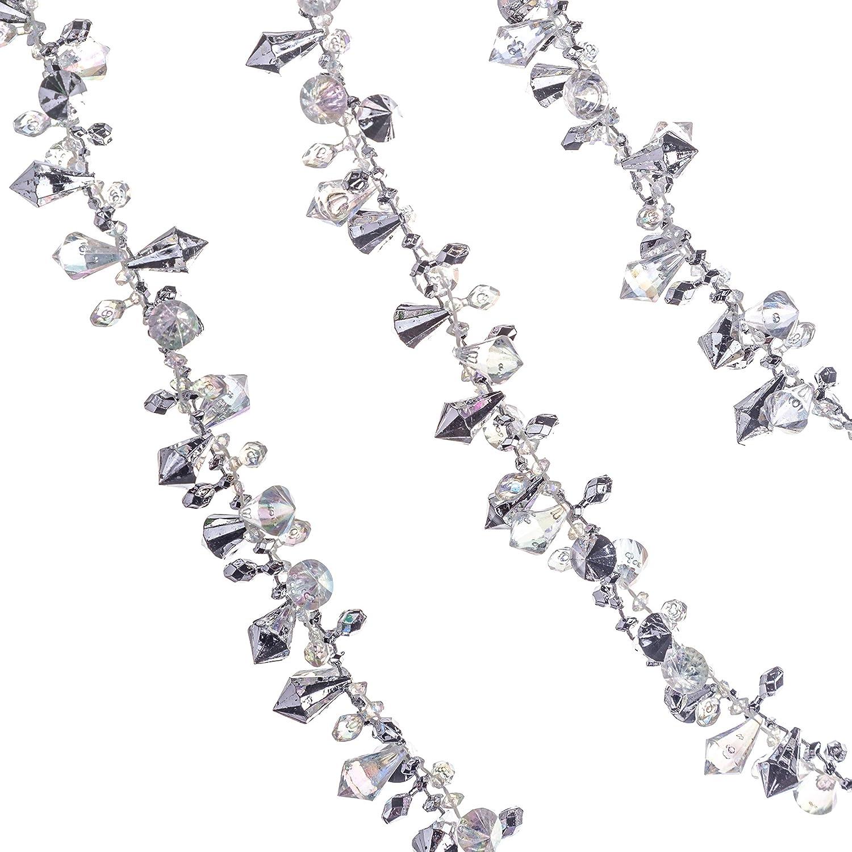 Klikel Iridescent Silver Large Twinkle Ice Double Twist Bead Garland, Set of 2 Each 10 Feet