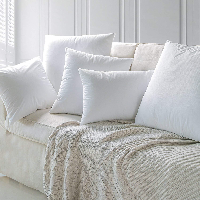 40 x 40 cm ForenTex Lot de 4 Coussins rembourr/és en Fibre Souple Anti-Allergique Blanc