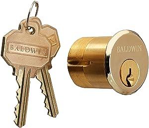"""Baldwin 8324 1-3/8"""" Mortise Cylinder C Keyway, Lifetime Polished Brass"""