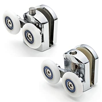 Juego de 4 doble ducha puerta rodillos/corredores/guías/ruedas de diámetro 25 mm, A5: Amazon.es: Hogar
