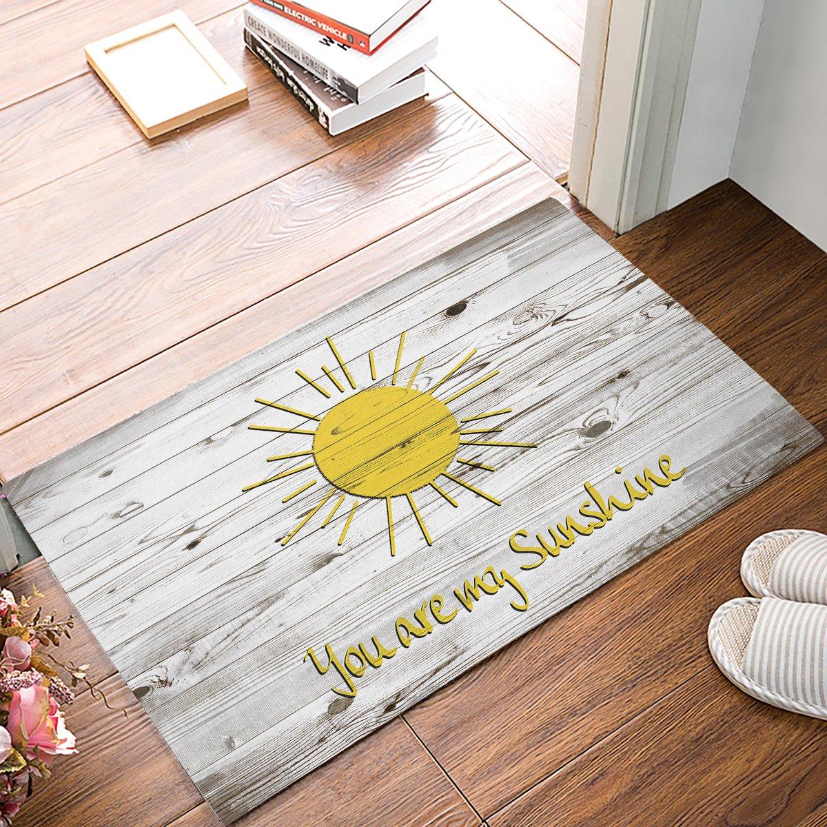 EZON-CH Modern Non Slip Bathroom Yellow Sun Your Are My Sunshine Gray Rustic Wood Mat Toilet Geometry Floor Rug Tea Mat Table Mat Carpet Pad(18IN X 30IN)