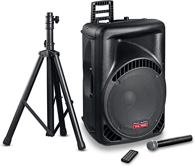 Mac Audio PA 1500 | Altavoz PA Activo de Alta Potencia de 2 vías con micrófono inalámbrico, trípode, Bluetooth y USB, Ideal para cumpleaños, Bodas, Fiestas, 1 Pieza Negro