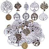 BronaGrand Pack of 50 Alloy Tree of Life Charms Pendents for Making Bracelet and Necklace (Color: silver,bronze, Tamaño: style1)