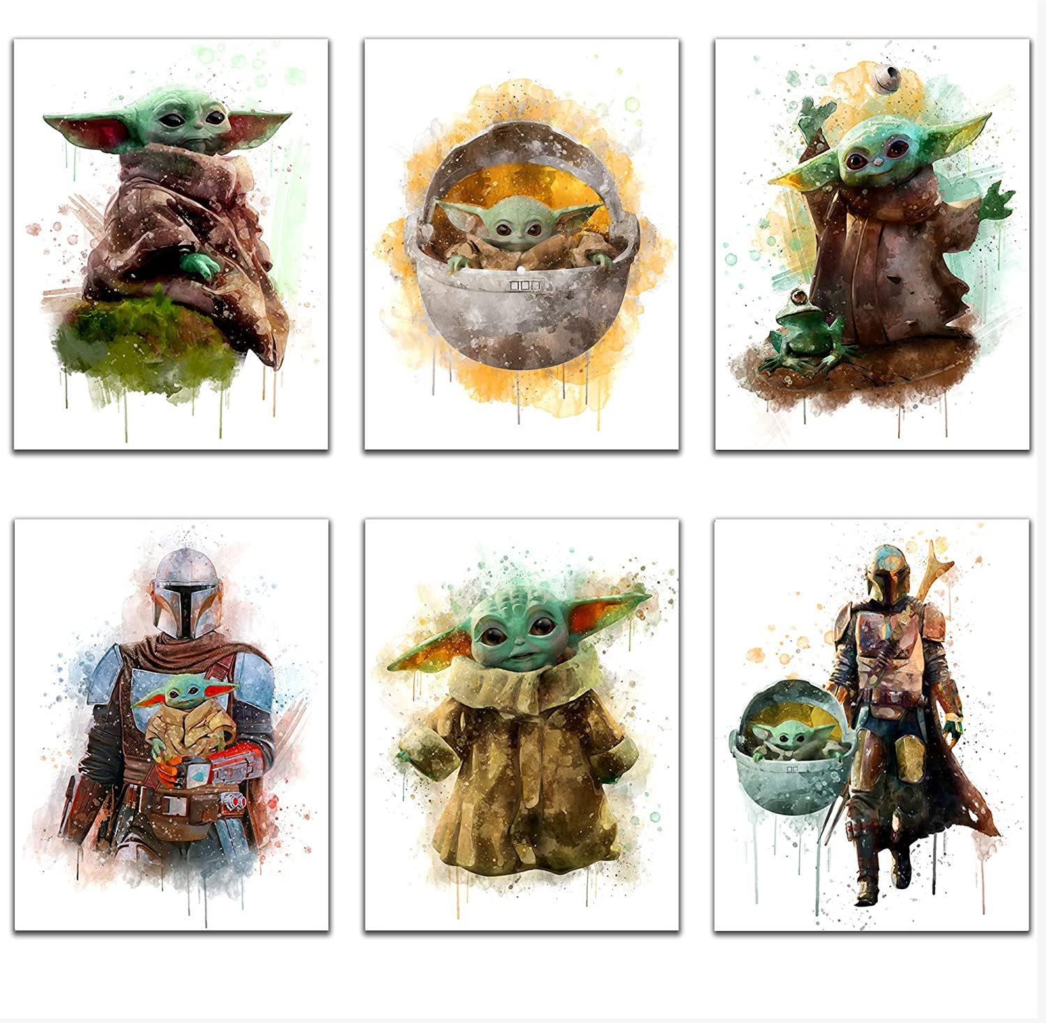 Star Wars The Child Baby Yoda Art Prints, Set of 6 (8 inches x 10 inches), Nursery Wall Art Stuff Decor, The Mandalorian Baby Grogu Photos, Kids Playroom, Wall Poster for Office (UNFRAMED)