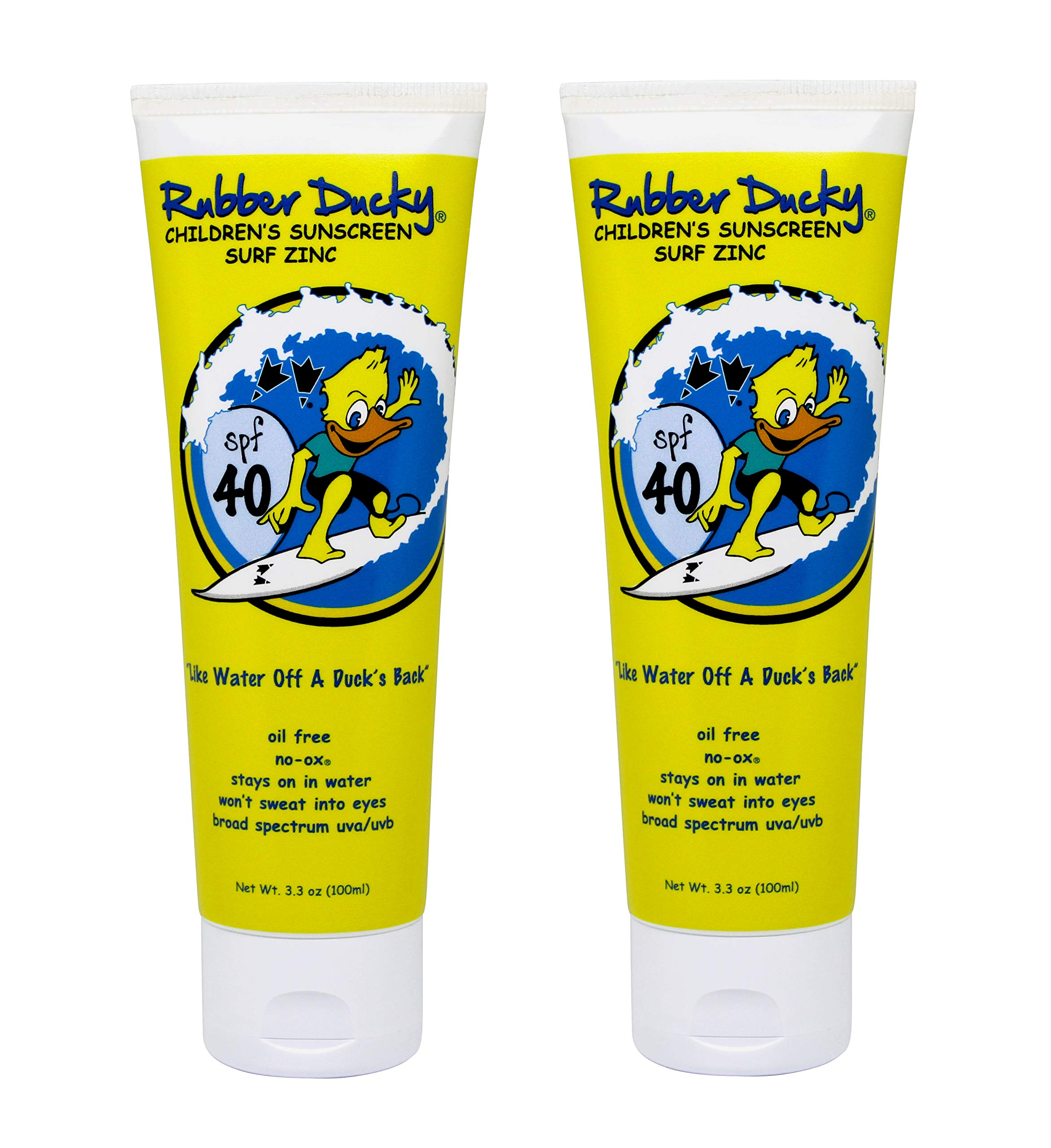 Rubber Ducky | SPF 40 children's Sunscreen - surf zinc, invisible, no-ox - 3.3 ounce - set of 2 by Rubber Ducky