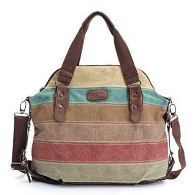 49cf25d416 Amazon.com  OURBAG Women Canvas Stripe Handbag Cross body Shoulder Bags Tote  Satchel Messenger Bag Colorful  Clothing