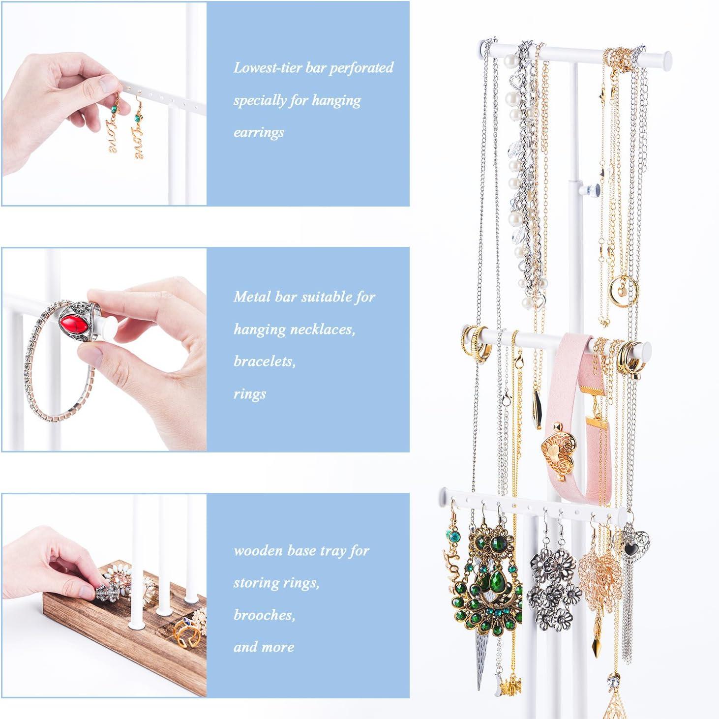 Une Hauteur r/églable pour Colliers Bracelets et Boucles doreilles en M/étal et Bois Belle D/écoration Love-KANKEI Pr/ésentoir de Bijoux Arbre /à BijouxAvec 3 Barres