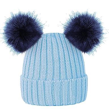 338d7a3fec08 ROCKJOCK Enfants filles chapeau chaud bonnet doux d hiver avec deux  oreilles pompon de fourrure