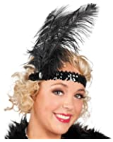 Lollipop Clothing Flapper Headband Sequin Feather Stretch 1920s 30s Dance Fancy Dress Chicago