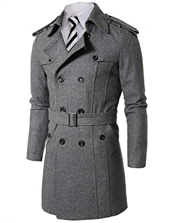 Mens Casual Double Breasted PEA Wool Belted Trench Coat GREY(W2B ...