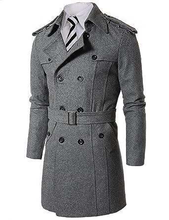 Doublju Mens Wool Coat with Belt GRAY (US-S) at Amazon Men's ...