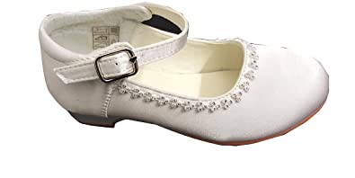 d6749ca502 Satin Flower Girls Bridesmaid Wedding First Communion Shoes in White