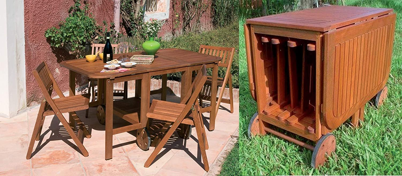 Tavoli Richiudibili Da Giardino.Set Tavolo Da Esterno Giardino In Legno Con 4 Sedie Richiudibili