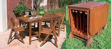 Tavolo Di Legno Per Esterno.Set Tavolo Da Esterno Giardino In Legno Con 4 Sedie Richiudibili