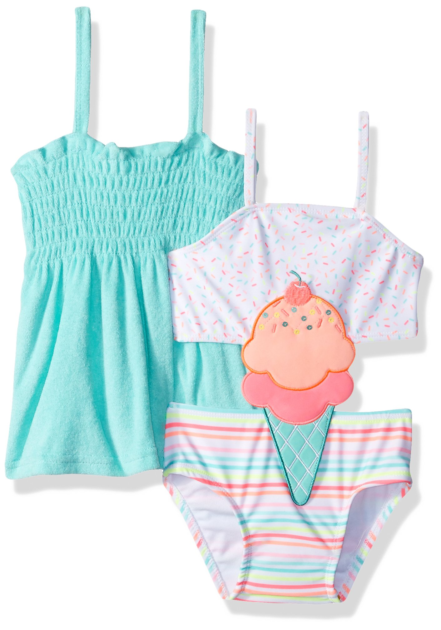 Baby Buns Girls' Toddler One Piece I Screem! Connector Swimsuit Set with Cover Up, Multi, 2T
