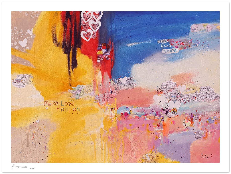 Reproducción de arte - Make love happen - sobre papel de acuarela 300g/m² con textura, de alta calidad: Amazon.es: Handmade