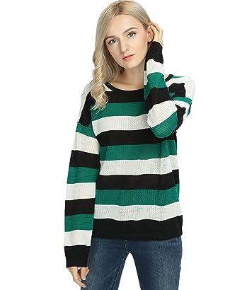 Women's Stripe Sweater Pullover Long Sleeve Crew Neck Green Black White