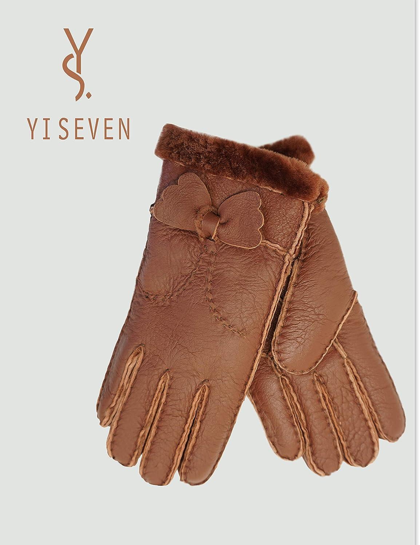 YISEVEN Damen Lammfell Leder Handschuhe aus Shearling