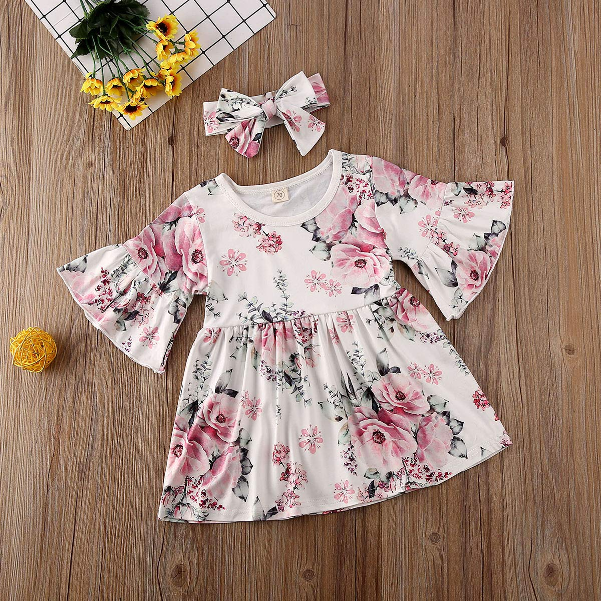 Toddler Kids Baby Girl Ruffle 3//4 Long Flare Sleeve Floral Party Dresses Clothes