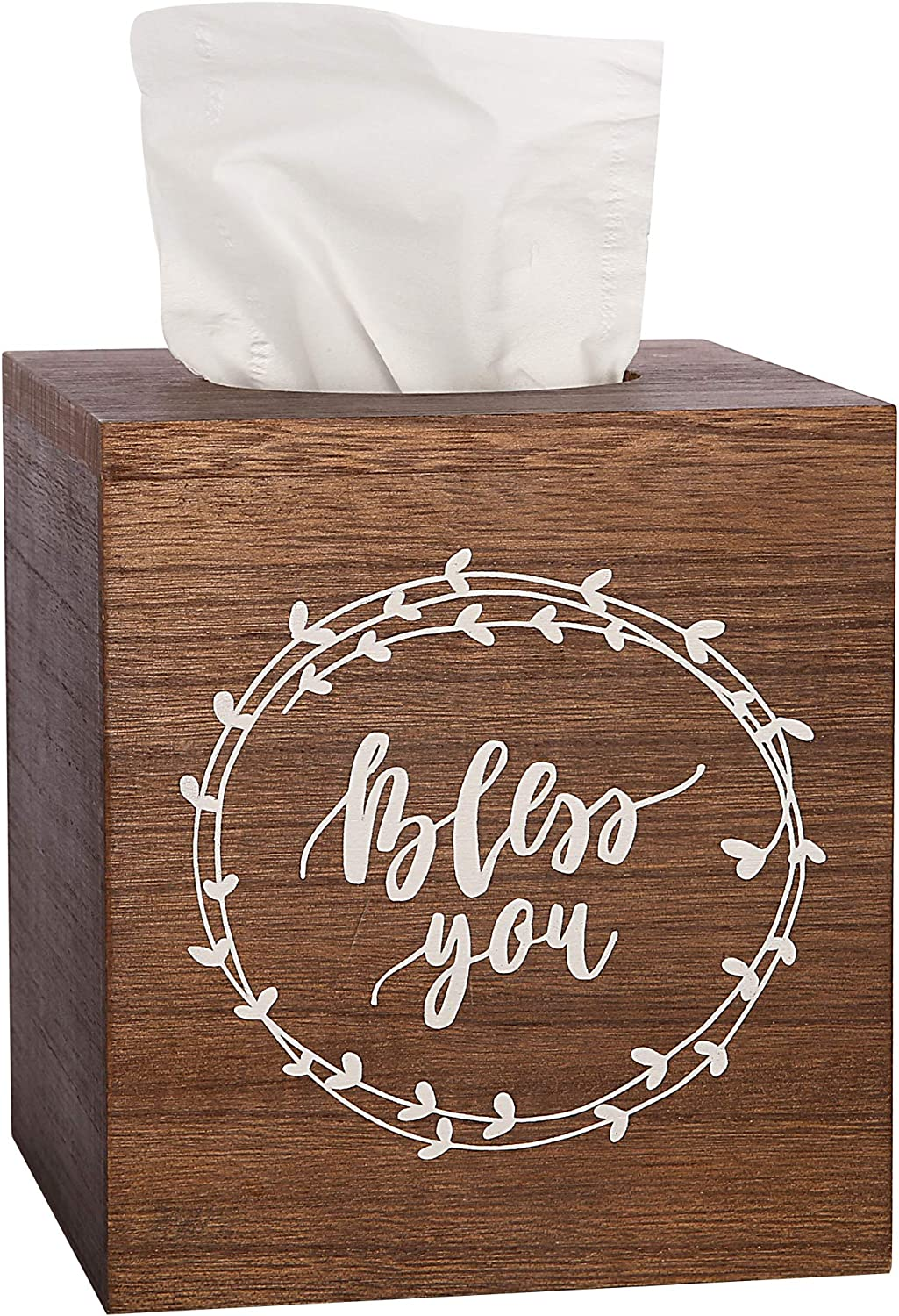 Bless You Tissue Box Cover - Boho Farmhouse Decor for The Home - Wood Tissue Box Holder - Perfect for Modern Rustic Home Decor