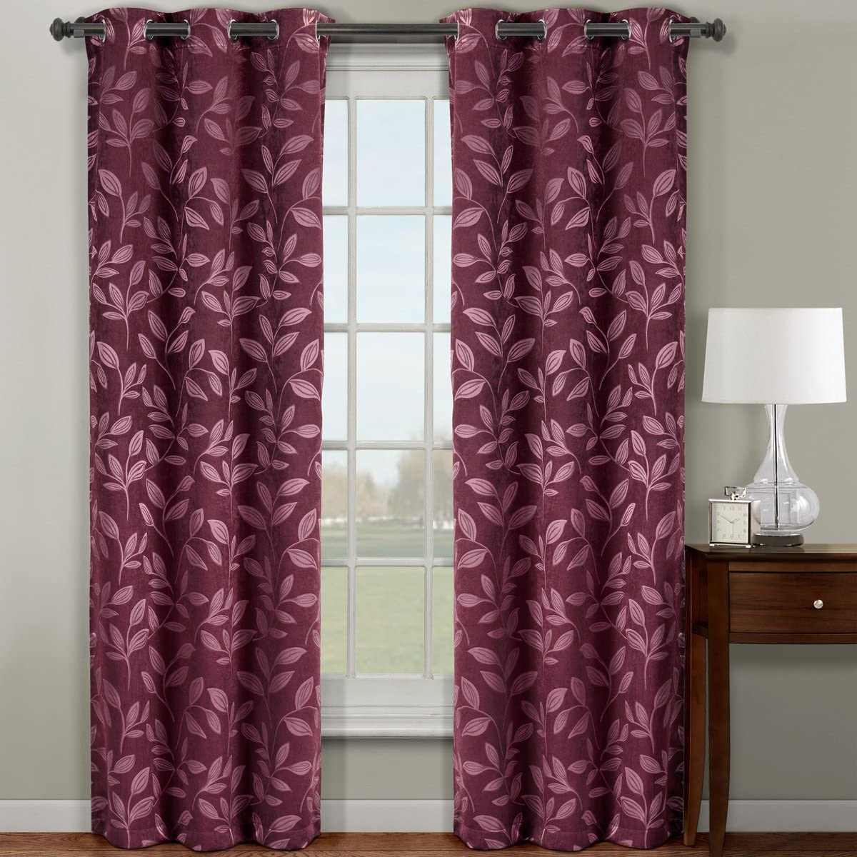 Pair of Two Top Grommet Claire Micro Suede Jacquard Blackout Weave Thermal Insulated Curtain Panels, Elegant Contemporary Claire Panels, Set of Two Burgundy 36 by 84 Panels 72 by 84 Pair