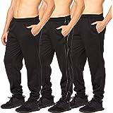Essential Elements Mens Fleece Joggers - Active Performance Lounge Casual Tech Sweatpants 3 Pack
