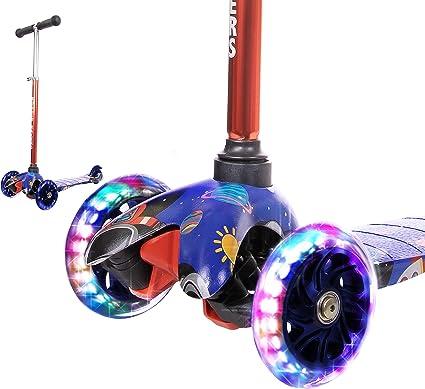 Rugged Racers Kick Scooter Adjustable 3 LED Wheels Rear Brake Lean 2 Turn NEW