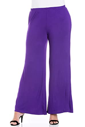 52e9297413083 24seven Comfort Apparel Plus Size Clothing for Women Wide Leg Palazzo Pants  Elastic Waistband - Made