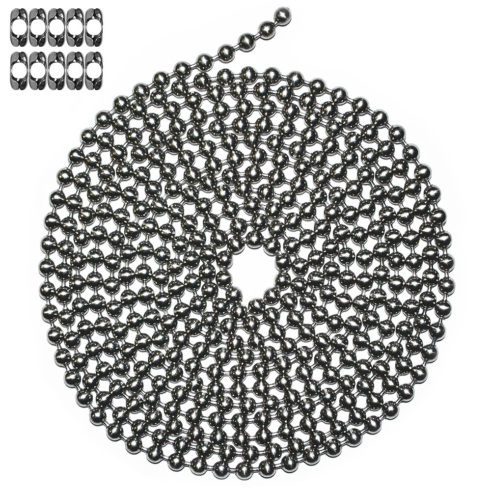 10 Foot Length Ball Chain, Number 13 Size, Stainless Steel, 10 Matching B Couplings by Ball Chain
