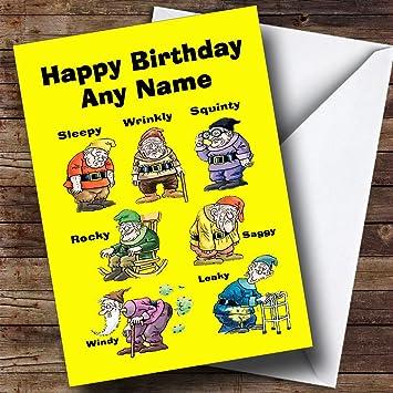 Funny Old Age Dwarfs Personalised Birthday Card