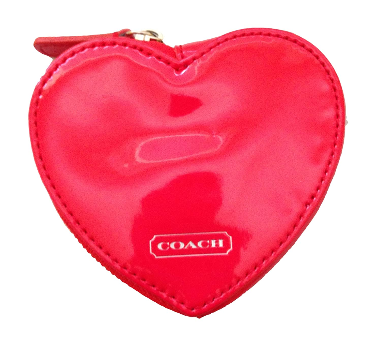 Coach Studded Liquid Gloss Heart Shaped Coin Purse, Red